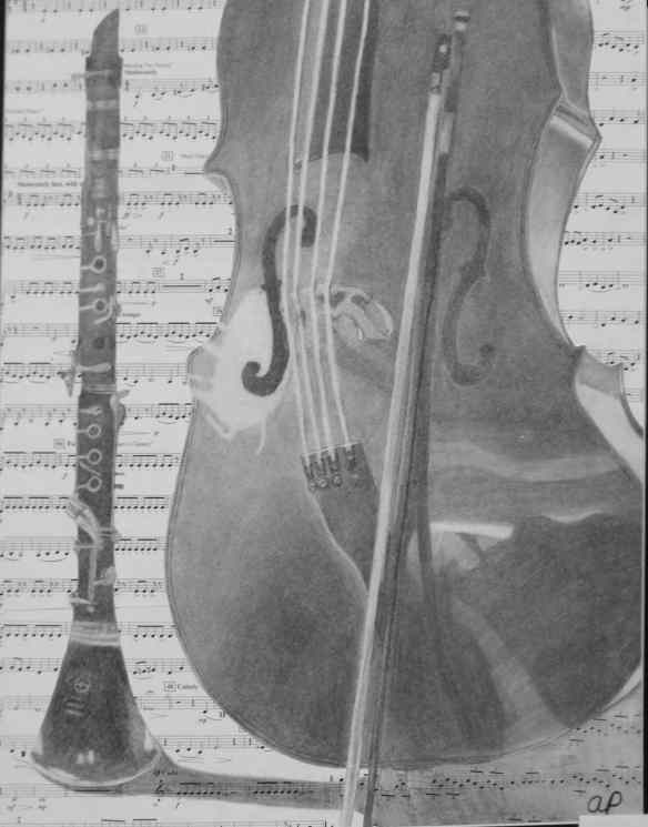 1, 18-19 drawing, Abigail Paulhamus, CELLO AND CLARINET